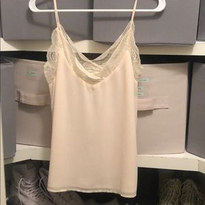 Wishlist apparel tank top with lace lining cream